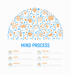 mind process concept in half circle vector image