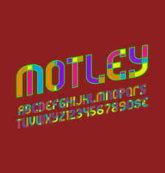 Motley alphabet with numbers and currency signs vector