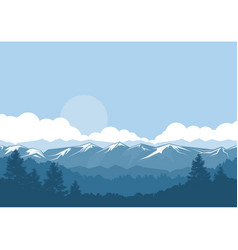 Mountains and forest foggy landscape vector