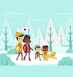 Multiethnic family walking in winter snowy forest vector