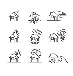 Natural disasters line style symbols accidents vector