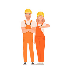 Pair builders in orange overalls and helmets vector