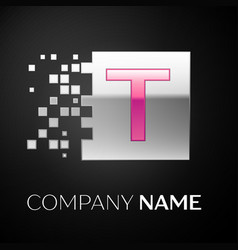 pink letter t logo symbol in the silver square vector image