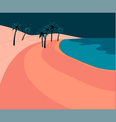 Pink romantic beach with palm leaves and blue sea vector