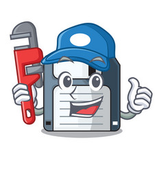 Plumber floppy disk in the writing wallet vector