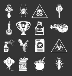 Poison danger toxic icons set grey vector