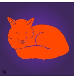 Red sleeping fox silhouette vector