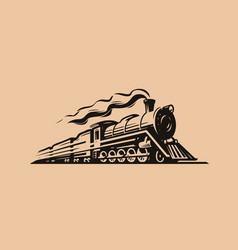 retro steam locomotive transport sketch train vector image