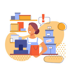 saleswoman at work in store flat stylized vector image