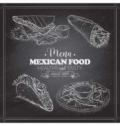 Scetch of mexican food menu on a black board vector