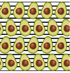 seamless background of halved avocado fruit vector image