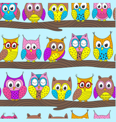 seamless pattern with funny owls on branch vector image