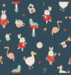 Seamless pattern with symbols from alice vector