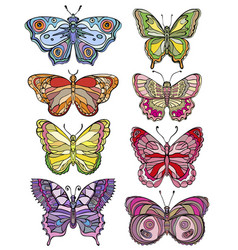 set beautiful and colorful butterflies vector image