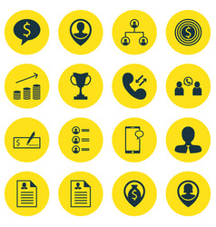 Set of 16 management icons includes business goal vector