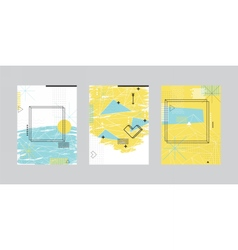 Set of cards with abstract geometric design vector
