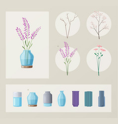 set of flowers and vases vector image