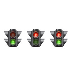 set realistic traffic lights for pedestrians vector image