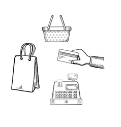Shopping and market sketch icons set vector image
