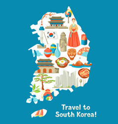 South korea map design korean traditional symbols vector