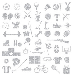 sport equipment icon set drawing sketch style vector image
