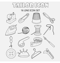 Tailor icons set outline style vector image