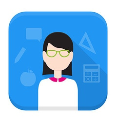 Teacher app icon with long shadow vector image vector image