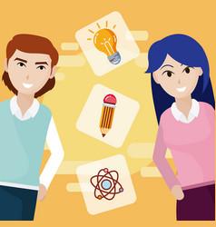 Teachers with education symbols vector