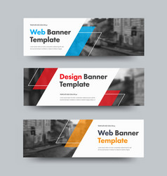 template of horizontal web banners with diagonal vector image
