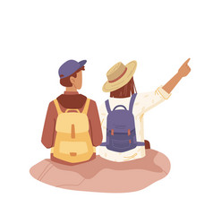 travelers look into distance couple with rucksacks vector image