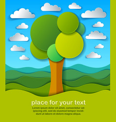 Trees in the field scenic nature landscape vector