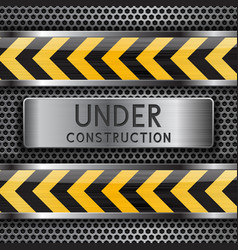 Under construction background metal perforated vector