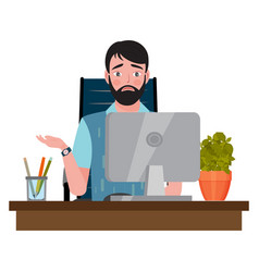 Upset man sitting on an office chair at a computer vector