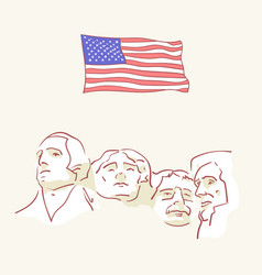 usa founding fathers flag hand drawn style vector image