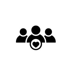 User group icon with heart shape vector