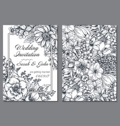 Wedding invitation with hand drawn spring flowers vector