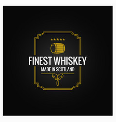 Whiskey logo dark label design background vector