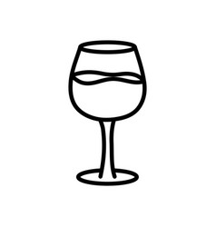 Wine glass drink on white background thick line vector