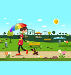 Woman with dog in city park - flat design vector