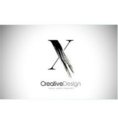 X brush stroke letter logo design black paint vector