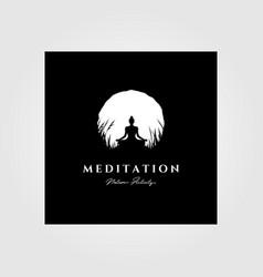 Yoga meditation logo moon background design vector