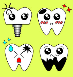 cartoon sick tooth decay and destroy tooth vector image vector image