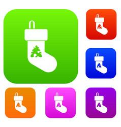 christmas sock set collection vector image vector image
