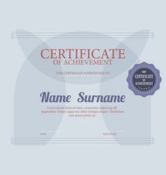 classic blue blank certified border template vector image