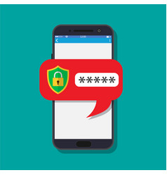 concept of smartphone security vector image vector image