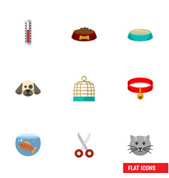 flat icon pets set of kitty temperature vector image