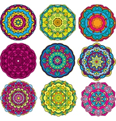 Round ornaments kaleidoscope floral patterns vector