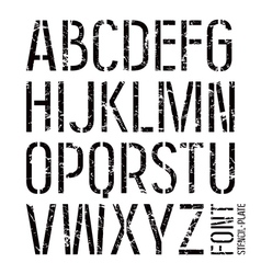 Stencil plate sans serif font in military style vector image