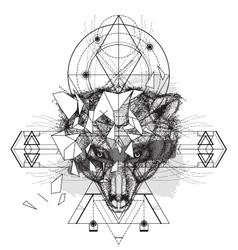 Animal bear head triangular icon vector