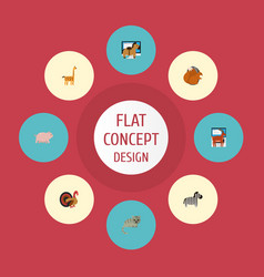flat icons camelopard horse moose and other vector image